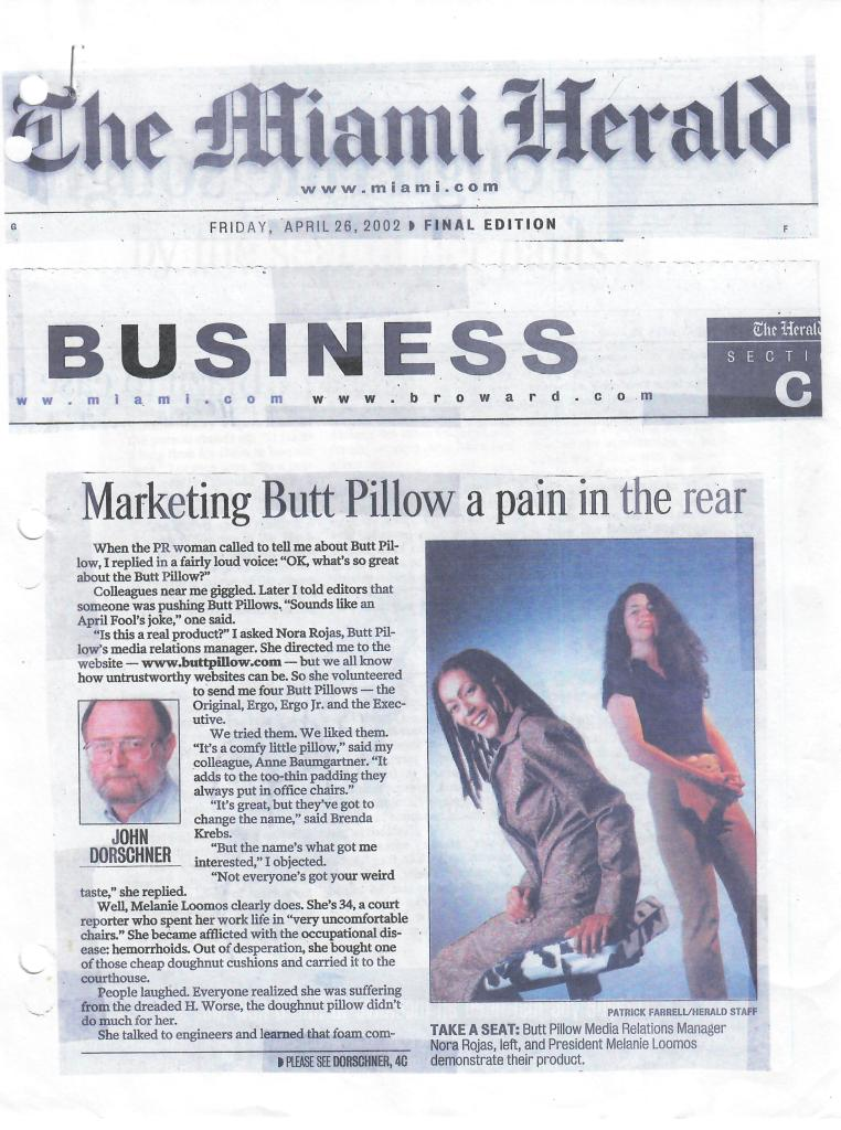 Newspaper archive regarding The Buttpillow® - April 26, 2002