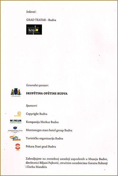 Anticka Budva - impresum