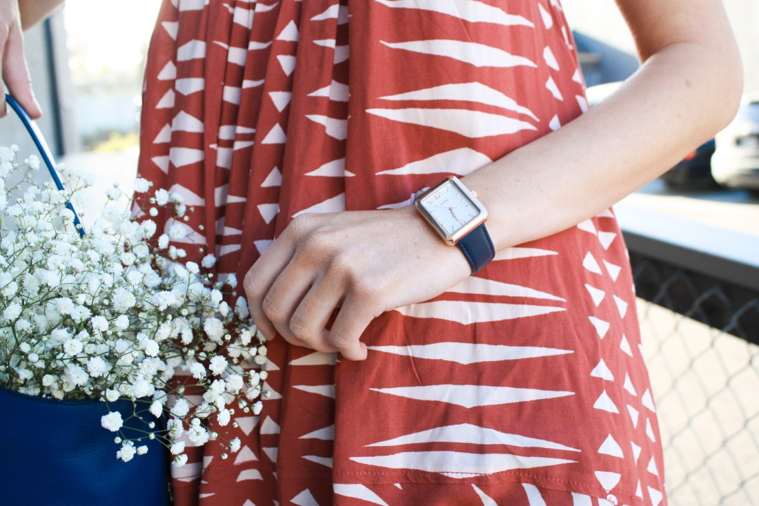 Spring essentials with fossil watch and purse ss17