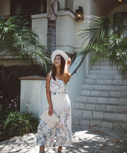 five wedding outfit ideas that are not dresses - free people floral jumpsuit -