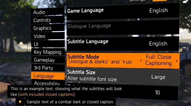 The Division 2's Accessibility
