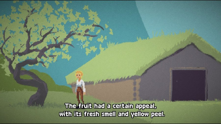 Image of Ruth standing underneath a tree with rhyming dialogue describing its fruit.