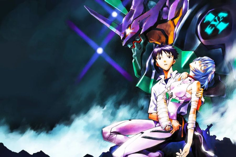 Shinji Ikari, Rey Ayanmi, and Eva Unit-01 from Neon Genesis Evangelion - Neon Genesis Evangelion blu-ray
