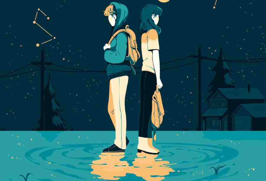Under Shifting Stars - Two characters stand back to back under yellow text reading 'Under Shifting Stars'.