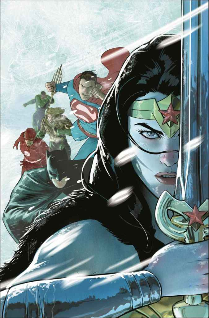 Justice League: Endless Winter #1 (on sale December 1) with art by Howard Porter and Marco Santucci and cover by Mikel Janin