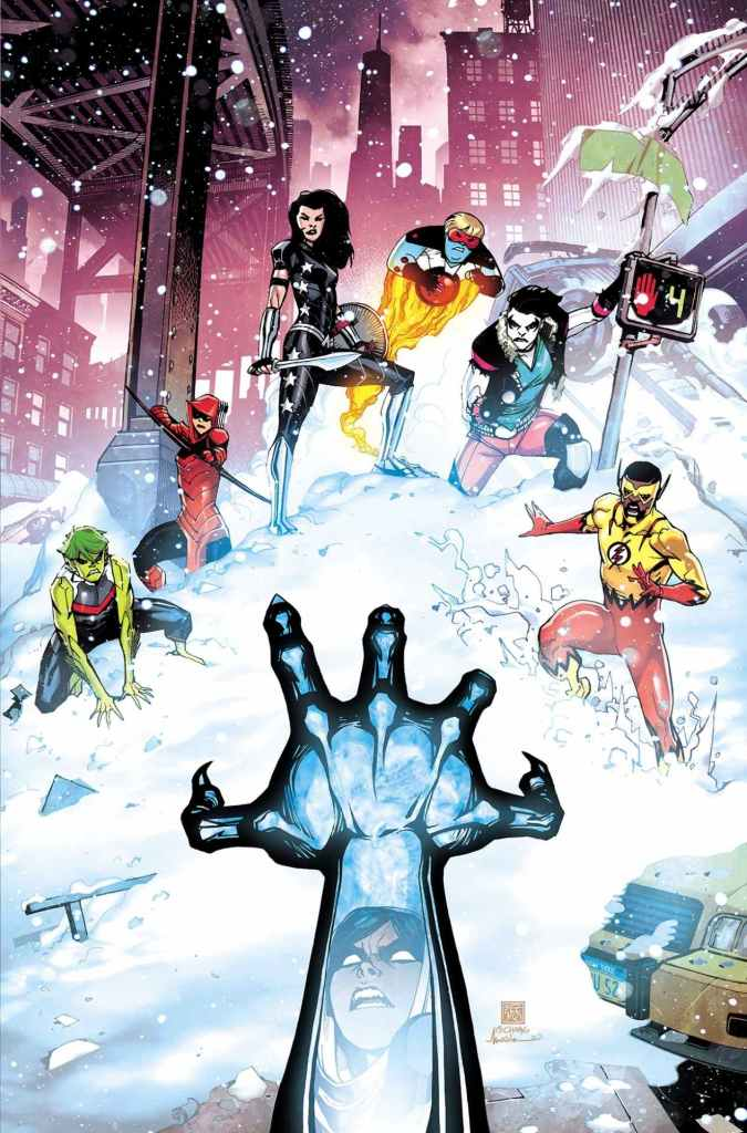 Teen Titans: Endless Winter Special #1 (on sale December 15), featuring art by Jesus Merino and Marco Santucci, and cover by Bernard Chang