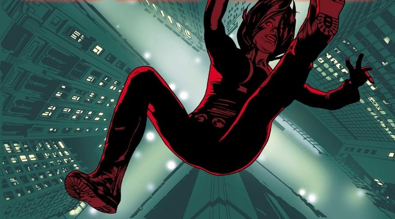 Black Widow is falling out of a city window on her cover.