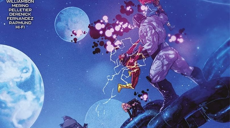 Darkseid holds President Superman and the Flash in two separate chokeholds as Agent Chase watches on, all of them standing on a giant chain, with the multiverse behind them.