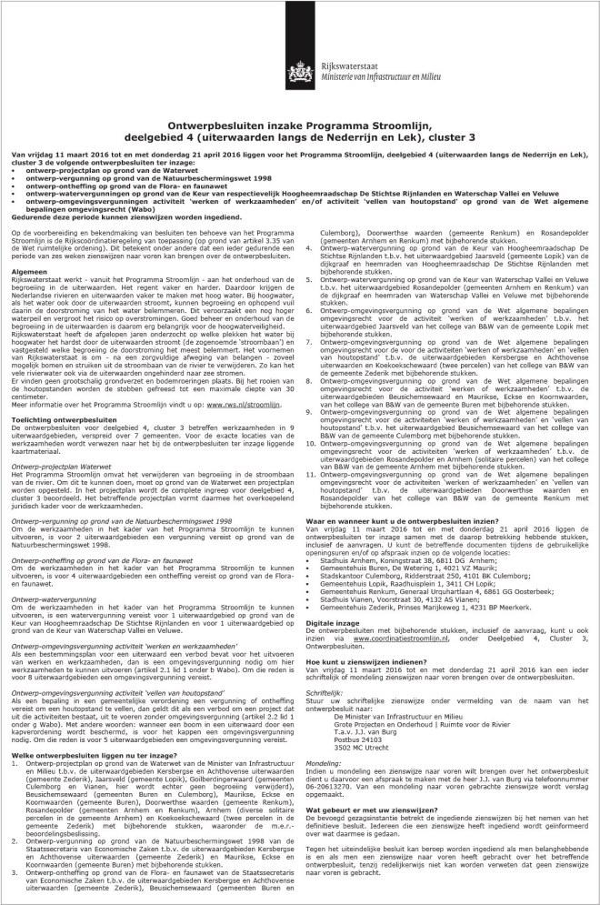 Ontwerpbesluiten inzake Programma Stroomlijn deelgebied 4 (uiterwaarden langs de Nederrijn en Lek), cluster 3