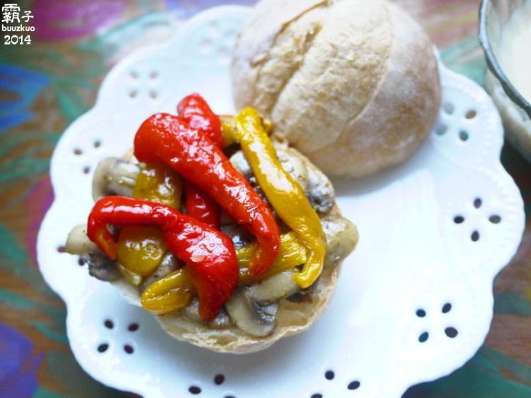 蕈菇甜椒堡,早餐輕鬆上手,吉拉多利冷壓初榨橄欖油有著無花果芬芳香氣 ~