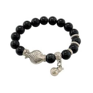 10mm Obsidian Crystal Bracelet with Wu Lou Charm1