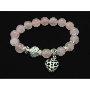 10mm Rose Quartz Crystal Bracelet with Heart Charm1
