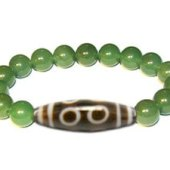 11-Eyed Dzi with Donut Shape Aventurine Bracelet