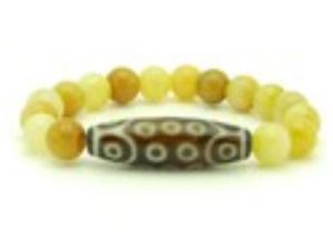 21 Eyes Dzi Bead with 10mm Yellow Jasper Bracelet