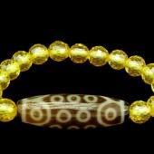 21 Eyes Dzi Bead with 8mm Faceted Citrine Bracelet1