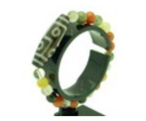 6 Eyed Dzi with 8mm Multi-Color Rutilated Bracelet