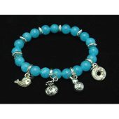 8mm Aquamarine Crystal Bracelet with Auspicious Charms1