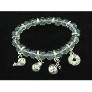 8mm Clear Quartz Crystal Bracelet with Auspicious Charms1
