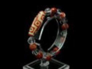 9 Eyed Dzi with 10mm Red Agate & Clear Quartz Bracelet