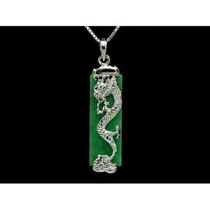925 Silver Dragon with Rectangular Jade Pendant Necklace1
