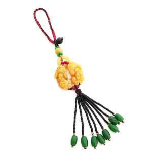 A Pair of Yellow Jasper Pi Yao with Yellow Jasper Beads Tassel
