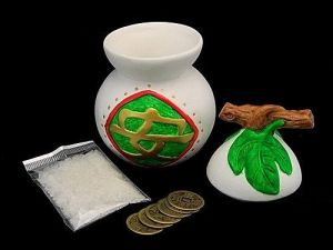 Anrenshui Wu Lou with Rock Salt and Chinese Coins