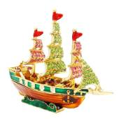 Bejeweled Wish-Fulfilling Wealth Ship for Wealth Luck