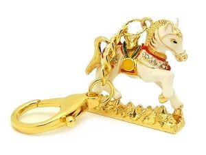 Bejewelled Wind Horse with Mantra Key Chain