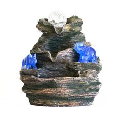 Blue Rhino and Elephant on 3 Tier Water Feature