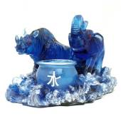 Blue Rhino and Elephant with Water Urn