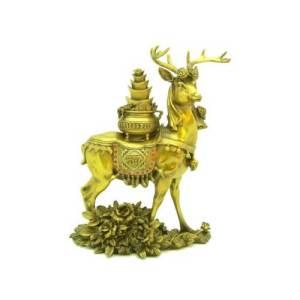 Brass Feng Shui Deer with Wealth Pot and Peonies1