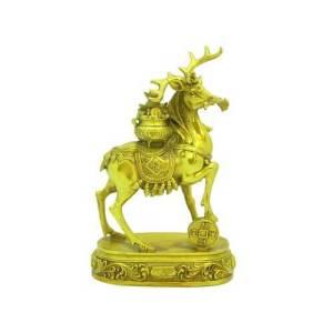 Brass Fengshui Deer with Wealth Pot1
