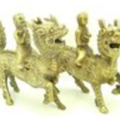 Brass Pair of Children on Chi Lin Holding Gold Ingot and Ruyi
