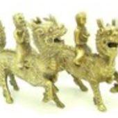 Brass Pair of Children on Chi Lin Holding Gold Ingot and Ruyi