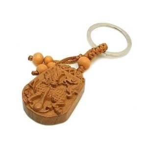 Chi Lin Chinese Unicorn Wooden Key Ring1