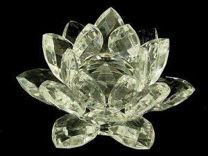 Clear High Grade Crystal Lotus Blossom Flower - 30mm1