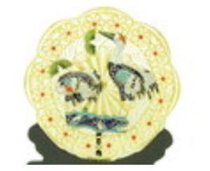 Enamel Cloisonne Pair of Cranes Plate for Longevity