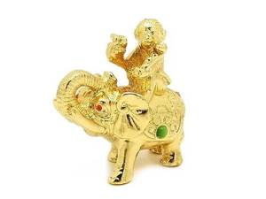 Golden Monkey with Ruyi sitting on Elephant