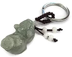 Good Fortune Green Jade Pi Yao Key Ring