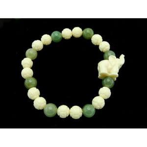 Ivory Elephant with Ivory and Jade Beads Bracelet1