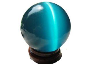 Light Blue Cateyes Feng Shui Crystal Ball