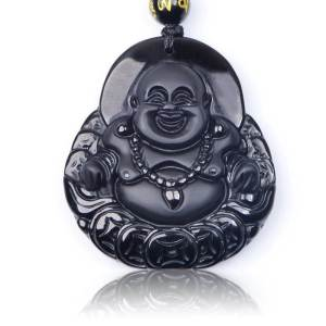 Obsidian Laughing Buddha with 6mm Onyx Necklace