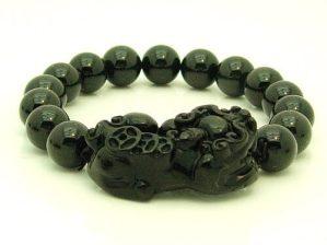 Obsidian Pi Yao with 10mm Round Beads Bracelet
