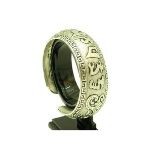 Om Mani Padme Hum Tibetan Silver Bangle (Large)1