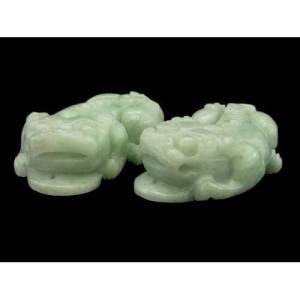 Pair of Green Jade Feng Shui Pi Yao1