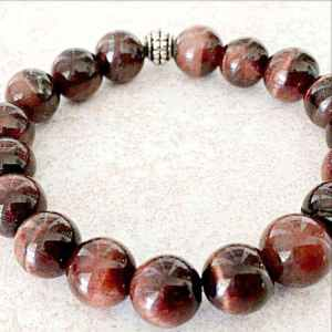 Red Garnet 10mm Beads Bracelet for Courage and Protection