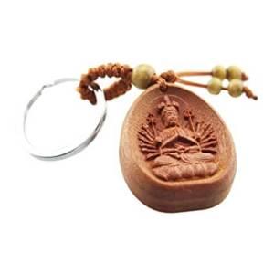 Thousand Hand Kwan Yin Wooden Key Chain