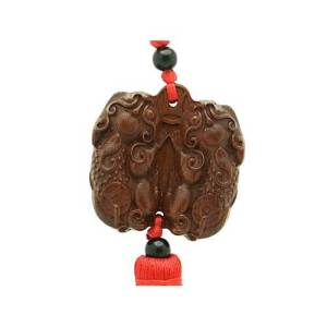 Wooden Double Pi Yao Good Fortune Tassel1