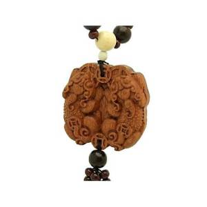 Wooden Pair of Protective Pi Xie Tassel1