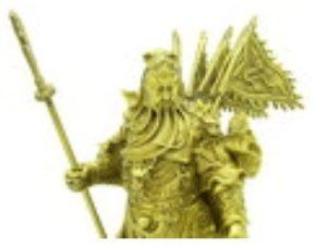 22 Inch Brass Majestic Nine Dragon Kwan Kung
